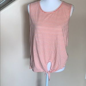 J.crew striped  front knotted tank top